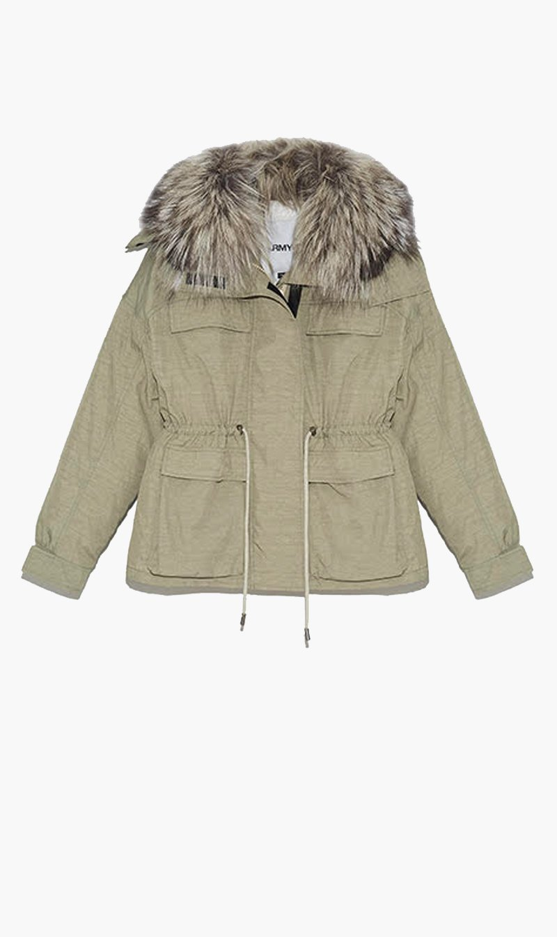Yves Salomon Womens Coat Yves Salomon | Short Fox Parka - Mojave/Iceberg