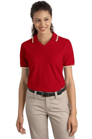 Port Authority Ladies Cool Mesh Polo with Tipping Stripe Trim. L431