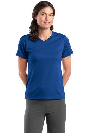 Sport Tek Dri Mesh Ladies V Neck T Shirt. L468V