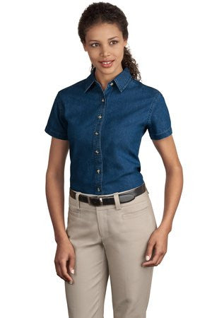 Port & Company Ladies Short Sleeve Value Denim Shirt. LSP11