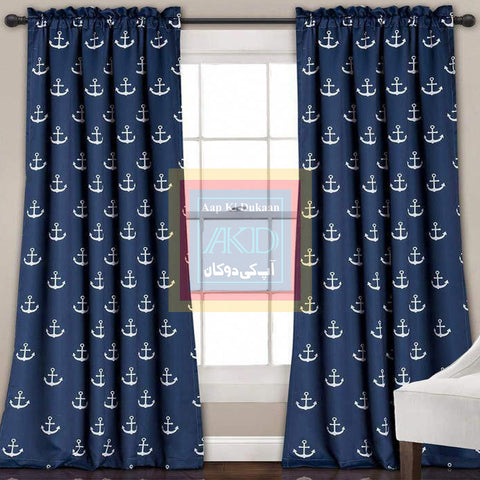 Printed Curtain Blue
