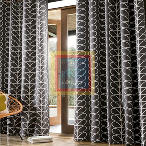 Printed Curtain Dark Grey