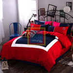 Oxford Duvet Set (Red with blue2)
