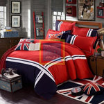Oxford Duvet Set  (Red with Blue)
