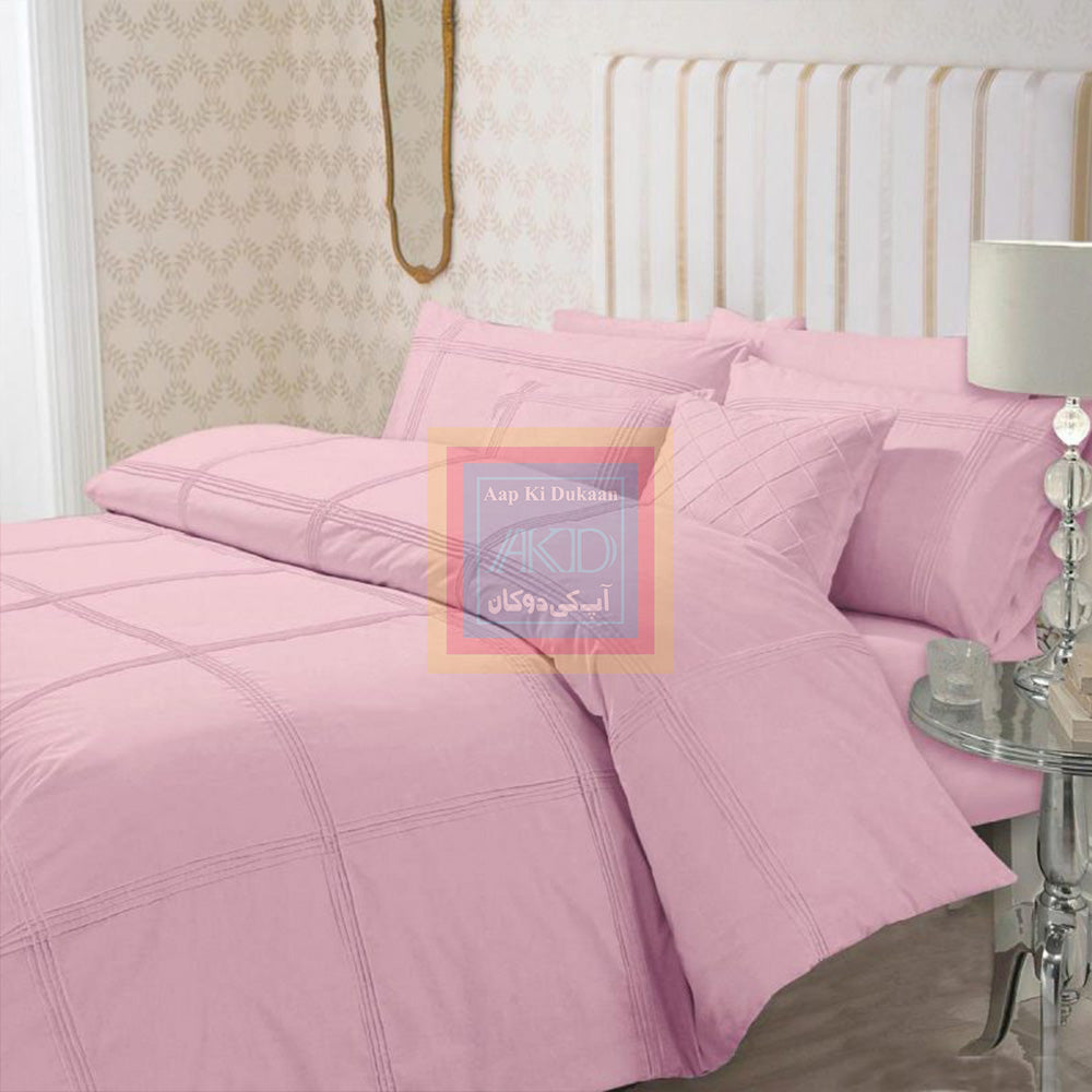 Pink Pleated Duvet Cover Set