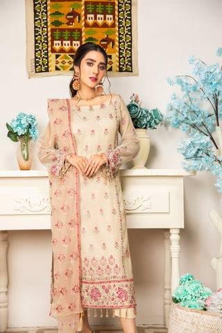 Embroidered 4Pcs suit (unstitched) AEL-20310