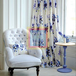 Printed Curtain White with blue