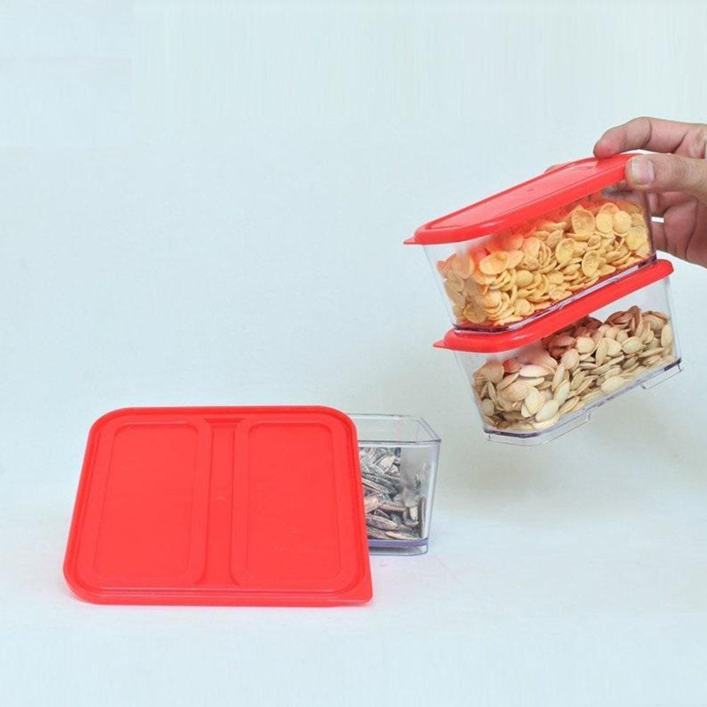 3Pcs Acralyic Stackable And Space Savvy Food Container Set