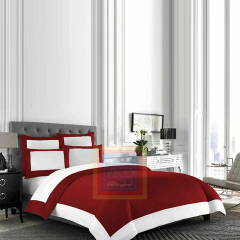 Cotton Border Duvet Set Red