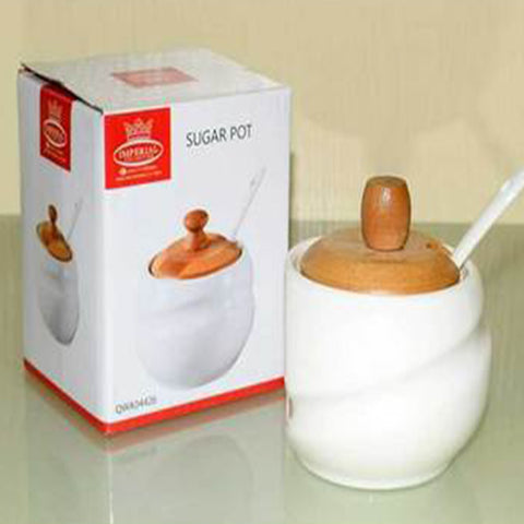Sugar Pot With Bamboo Base Imperial