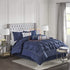 Luxury Pintuck Duvet Cover Set (Blue)