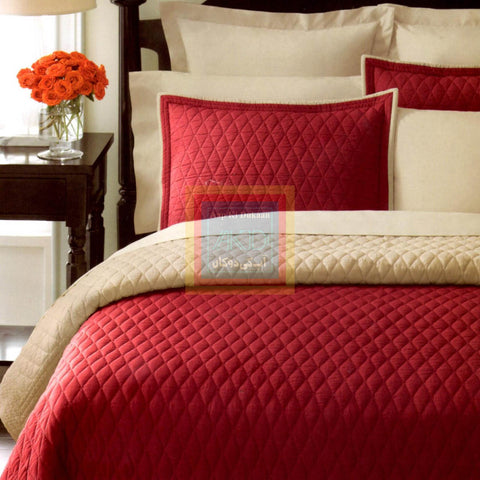 Red with Beige Bedspread