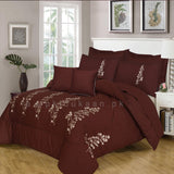Embroidered Comforter Set (Brown)
