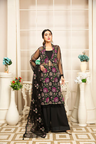 Embroidered 4Pcs suit (unstitched) AEL-20302