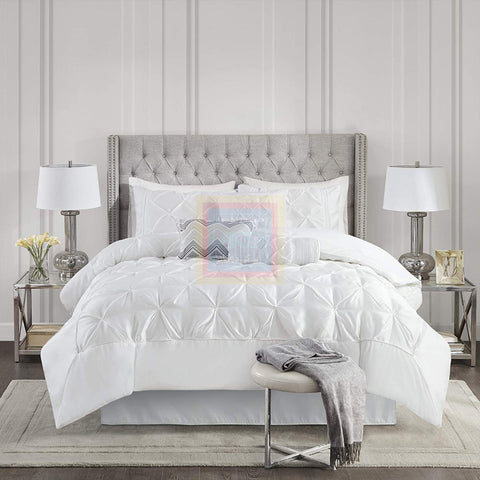 Luxury Pintuck Duvet Cover Set (White)
