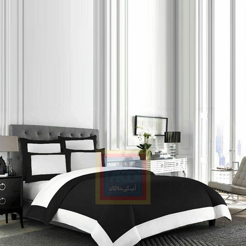 Cotton Border Duvet Set (Black)