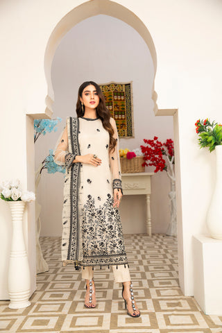 Embroidered 4Pcs suit (unstitched) AEL-20303