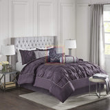 Luxury Pintuck Duvet Cover Set (Purple)