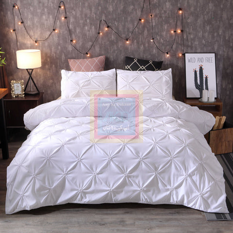White Pintuck Duvet Cover Set