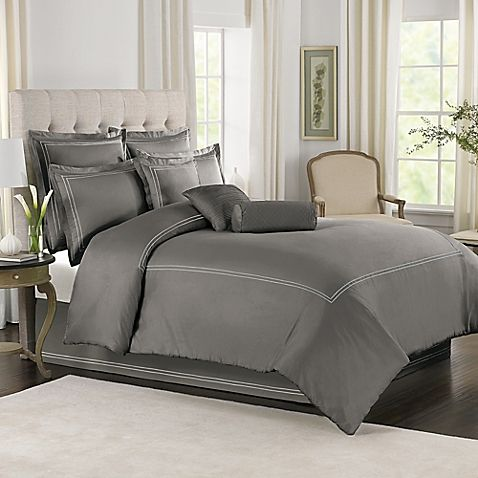 Grey with White Baratta Stitch Duvet Set