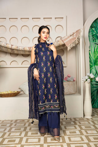 Embroidered 4Pcs suit (unstitched) AEL-20305