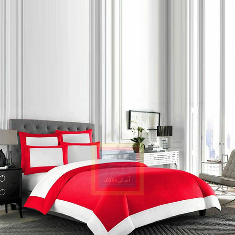 Cotton Border Duvet Set (Red)
