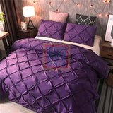 Purple Pintuck Duvet Cover Set
