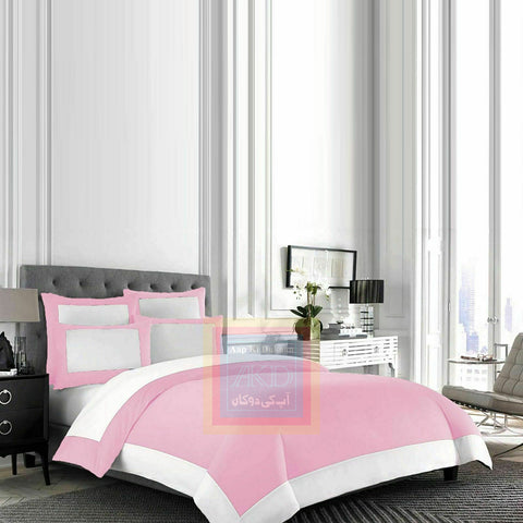 Cotton Border Duvet Set (Pink)