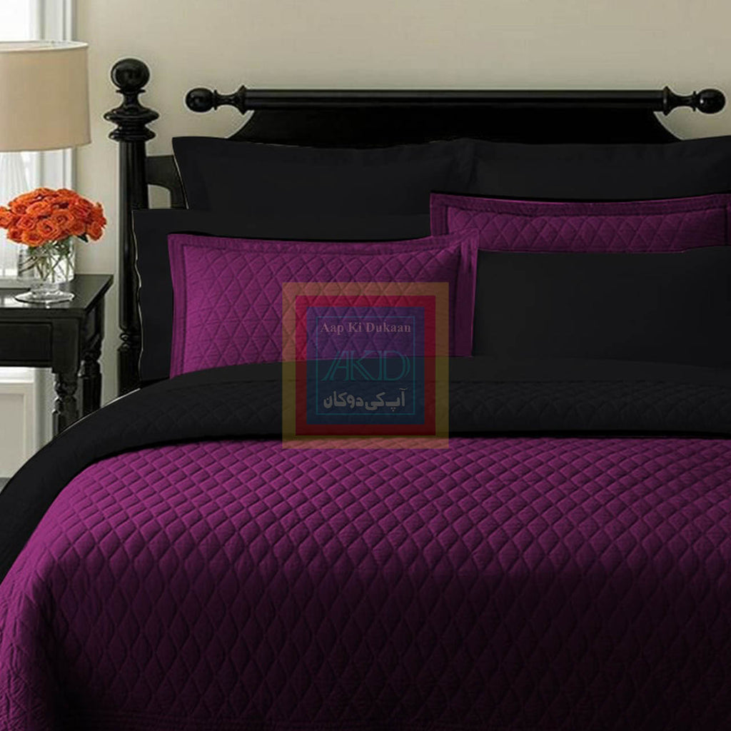 Purple With Black Bedspread