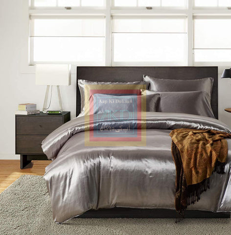 Silver Silk Duvet Set