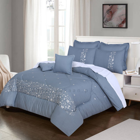 Embroidered Comforter Set (Grey)