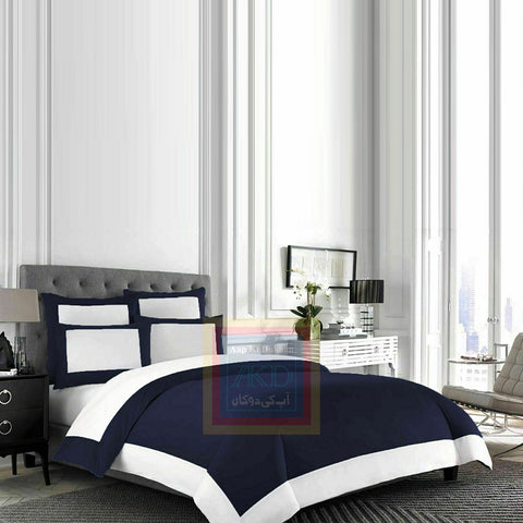 Cotton Border Duvet Set (Blue)