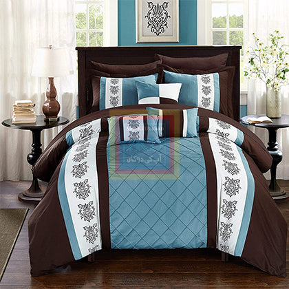 Luxury Pinch Pleat Duvet Set (tale & brown)