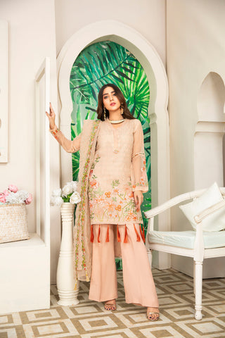 Embroidered 4Pcs suit (unstitched) AEL-20308