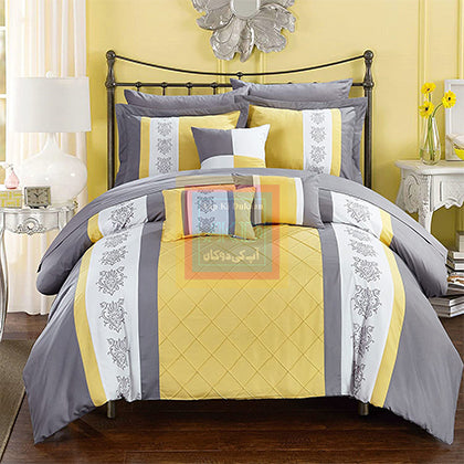 Luxury Pinch Pleat Duvet Set (Yellow)