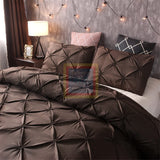Chocolate Brown Pintuck Duvet Cover Set