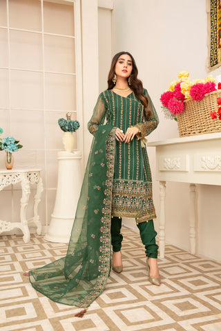 Embroidered 4Pcs suit (unstitched) AEL-20309