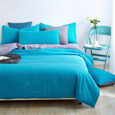 Plain Dyed Duvet Set (Teal Reverse Grey)