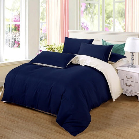 Plain Dyed Duvet Set (Navy Blue Reverse Cream)