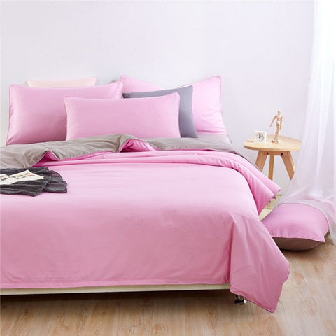 Plain Dyed Duvet Set (Light Pink Reverse Grey)
