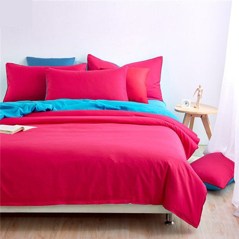 Plain Dyed Duvet Set (Shocking Pink Reverse Teal)