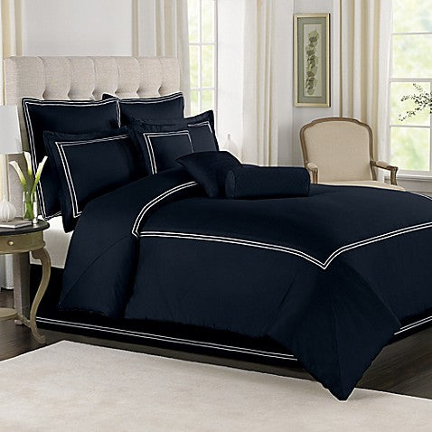 Navy Blue with White Baratta Stitch Duvet Set