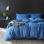 Blue Cotton duvet set with fluffy fringe