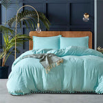 Lake Blue Cotton duvet set with fluffy fringe