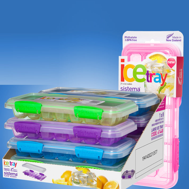 sistema New Zealand ice cube plastic Tray with cover.
