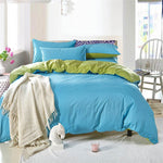 Plain Dyed Duvet Set ( Blue with Green)