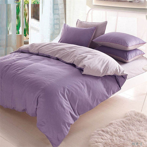 Plain Dyed Duvet Set ( light Purple with Grey)