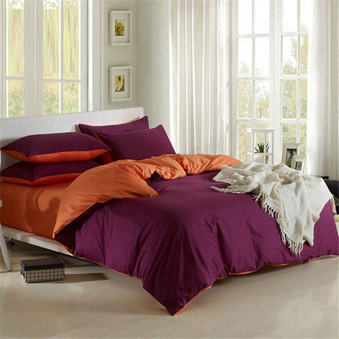 Plain Dyed Duvet Set (Dark Purple with orange)