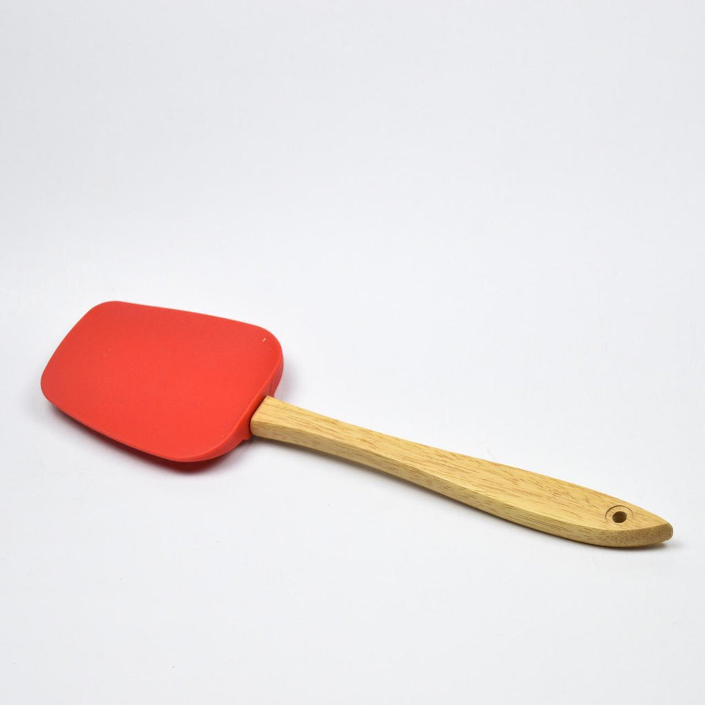 Red Cooking  Silicone Spoon Spatula With Wooden Handle