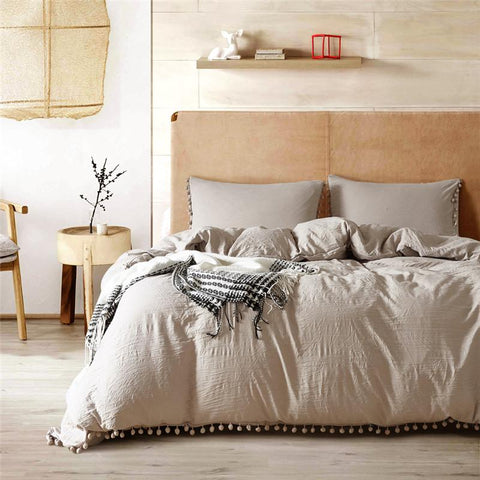 Beige Cotton duvet set with fluffy fringe